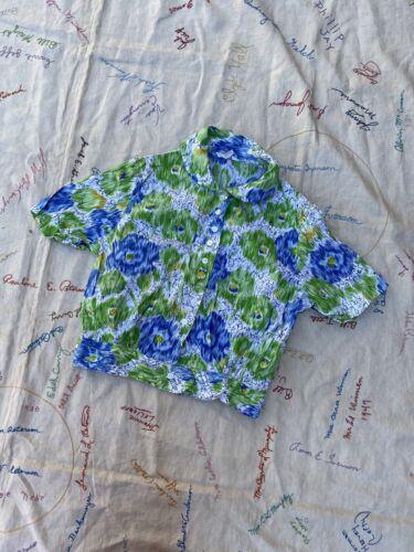 Vintage 1940s 1950s Blue Floral Print Cotton Blous