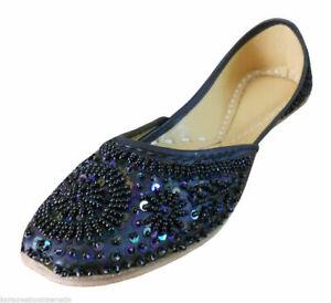 Women Shoes Indian Bride Black Oxfords Handmade Leather Mojari US 4-12