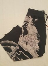 LUCKY BRAND Knit-Wear Woman's Geisha Asian Dragon Yoga Capri Pants Sz S Pre-Owne