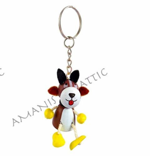 Hand Crafted Painted Cute Wooden Animal Key Ring Chain Rabbit Mouse Bee Frog etc