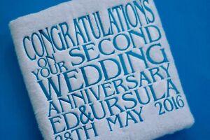 Personalised Second 2nd Wedding Anniversary Towel Set Wedding Towel Set