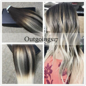 Details about 40pcs Seamless Remy Tape in Hair Extensions Dark Brown  Platinum Blonde Balayage