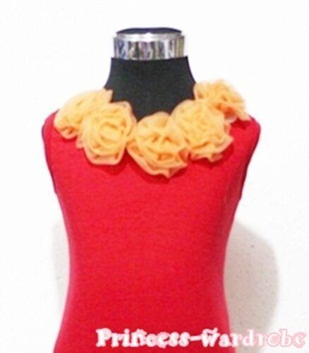 Xmas Hot Red Pettitop Tank Top Shirt Rosette Girls 1-8Y