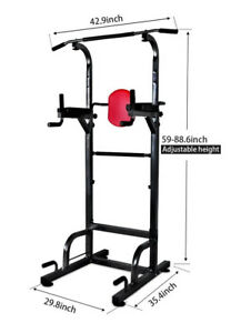 Dip Station Chin Up Bar Power Tower Pull Push Home Gym Fitness Core ... 72a22f2b44aa