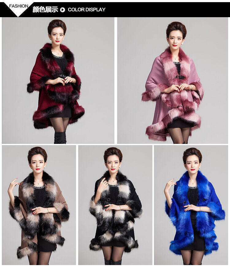 Faux Fox Fur & Cashmere Poncho   Cape  Scarf  Wrap Big Size 2016 New Style