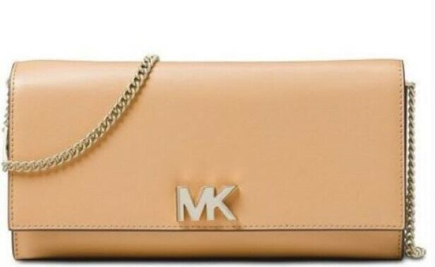 fb5e07b3d3ee Michael Kors Mott Large Smooth Leather Chain Wallet Crossbody Butternut for  sale online