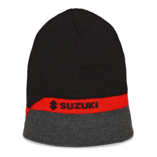 2019 Suzuki Genuine Clothing - Unisex Team Beanie Hat New Black//Grey//Red