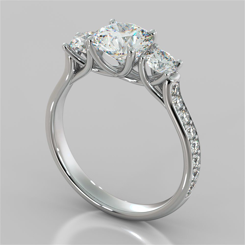 Certified 3Ct White Round Diamond 3 Stone Engagement Wedding 14K White gold Ring