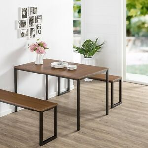 Details About Modern Wood Dining Table With Metal Legs 2 Benches Set For 4 Patio Kitchen Room