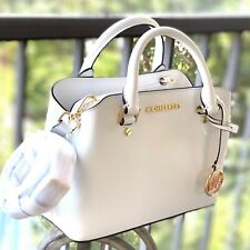 Michael Kors Savannah Small Satchel Crossbody Optic White Leather Bag