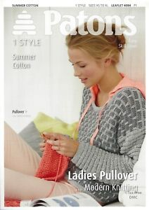 5b5809f0d VAT Free Knitting PATTERN ONLY Patons Cotton Ladies Pullover Jumper ...