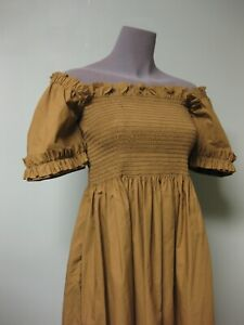 Molly Goddard NEW Shirred Smocked A Line Adelaide Dress S Ruffled Sleeves Moss