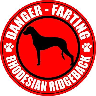 "FARTING RHODESIAN RIDGEBACK 5"" DOG FART STICKER"