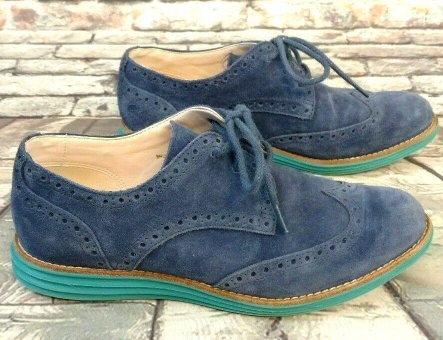 COLE HAAN LunarGrand Wingtip Oxfords Women's bluee Suede shoes Size 5 1 2B