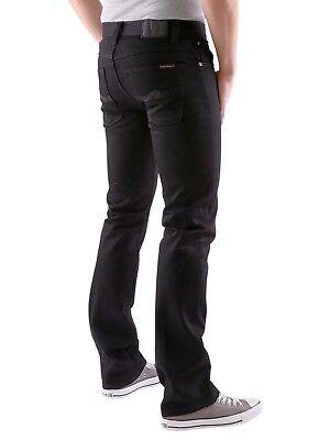 100% Vero Nudie Slim Jeans Aderenti, Solido Nero Twill, Raw, Uomo Jeans , S.28, 29, 31 Paghi Uno Prendi Due