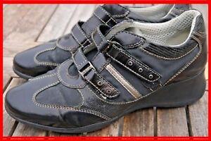 Détails sur GEOX Pointure 36,5 Superbes chaussures baskets noires à scratches