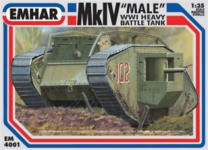 EMHAR-EM-4001-MkIV-Male-WWl-Heavy-Battle-Tank-Plastic-Kit-1-35-Scale-T48-Post