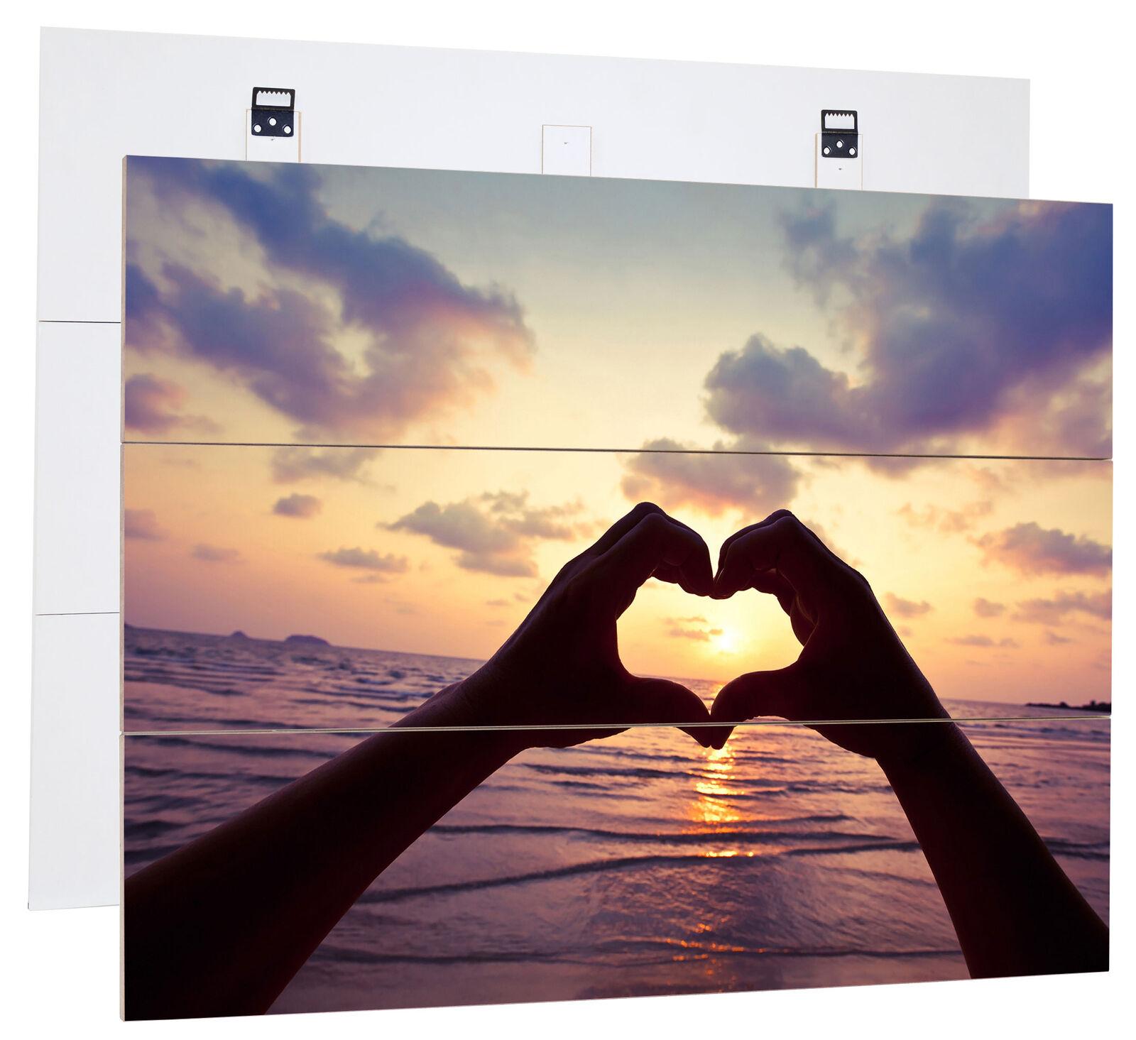 Manos con Forma Corazón Bretterlook, Am Mar - Verdadero Mdf-Holzbild Bretterlook, Corazón 50e8ec