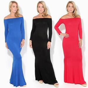 Womens-Ladies-Bodycon-Maxi-Dress-Off-Shoulder-Fishtail-Bardot-Long-Evening-Party