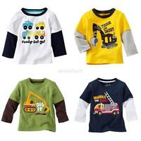 Boys Kids Long Sleeve Round Neck Tops T-Shirt Pullover Outwear Clothes Coat Tee