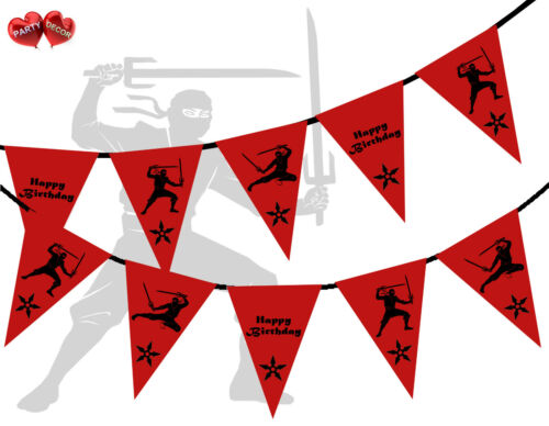 Red with Black Print Ninja Happy Birthday Themed Bunting Banner by PARTY DECOR