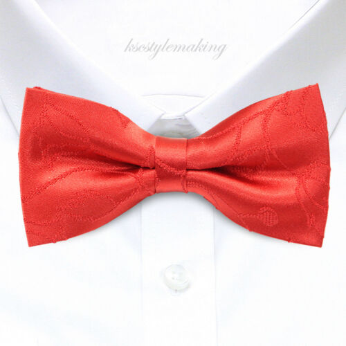 *BRAND NEW* RED JACQUARD TULIP FLORAL PATTERNS TUXEDO MENS BOW TIE B815
