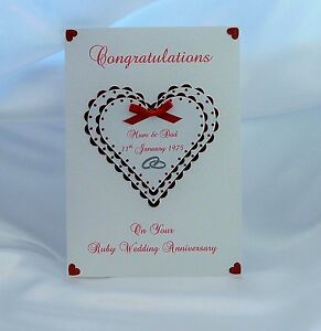 Image Is Loading Ruby 40th Wedding Anniversary Card Wife Husband Friends