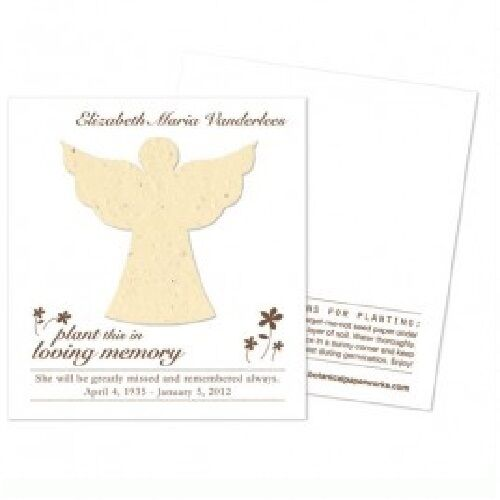 50 Angel Plantable Memorial Cards with Free Personalization