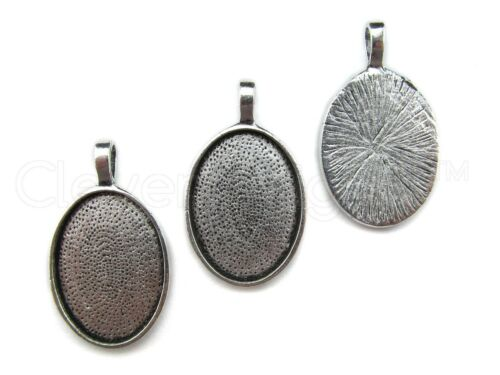 20 Qty 18x25mm Oval Pendant Trays Antique Silver Color Cameo Craft 18 x 25