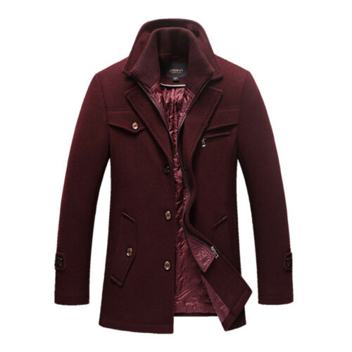 Mens Winter Warm Casual Lapel Thicken Double Collar Woolen Long Overcoat Coat