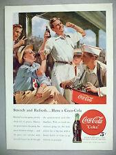 Coca-Cola PRINT AD - 1948 ~~ Coke, baseball game, stretch and refresh