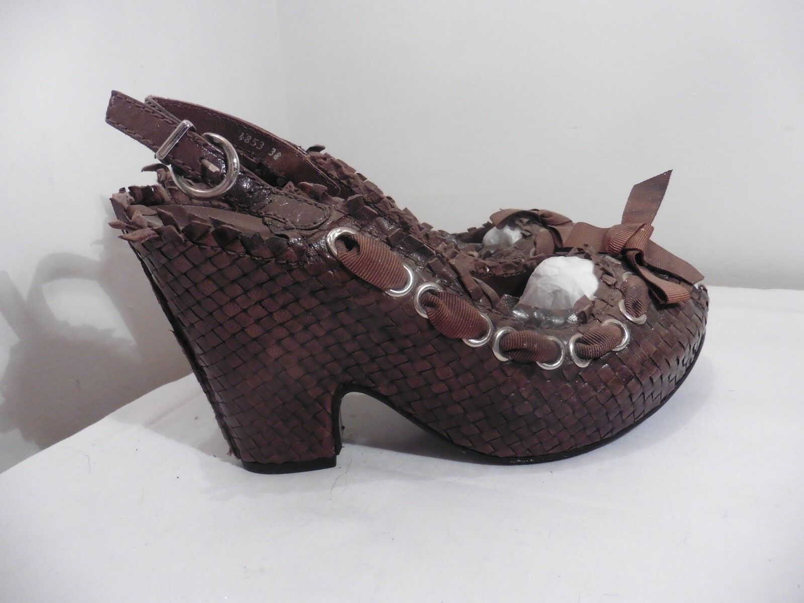 Pons Quintana Woven Brown Leather Ribbon Trim Peep Toe Sandals Size 5 £139 NEW