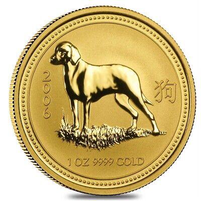 2006 1 oz Gold Lunar Year of The Dog BU Australia Perth ...
