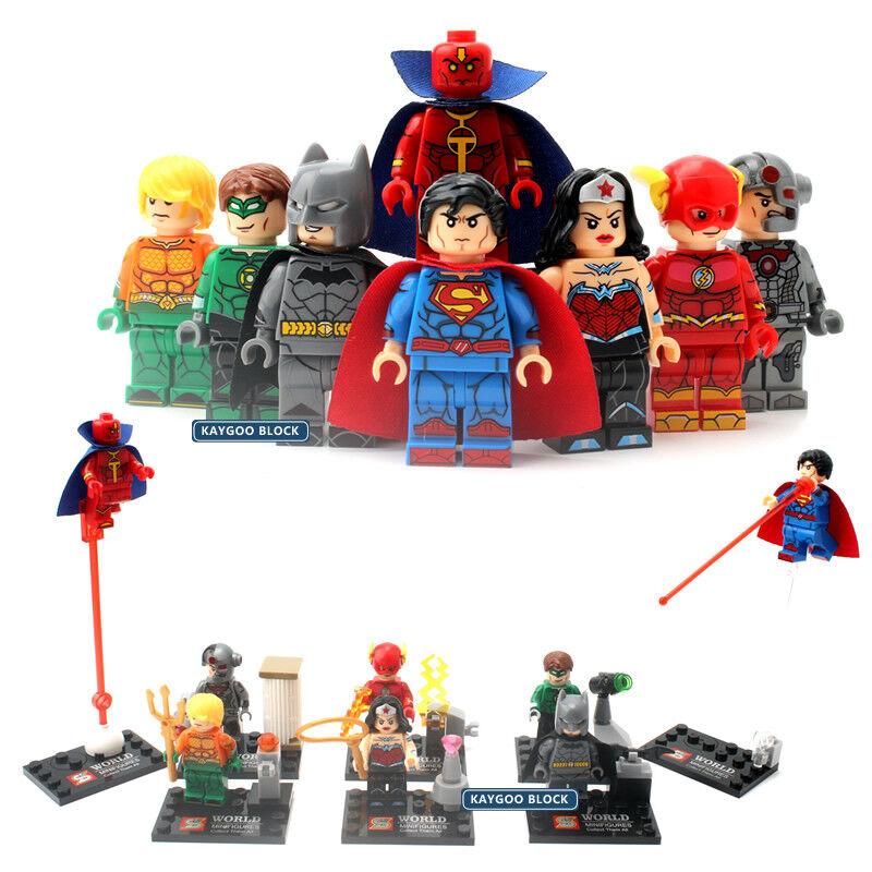 Marvel Justice League Minifigure 8Pcs Set - Superman Batman Flash & More
