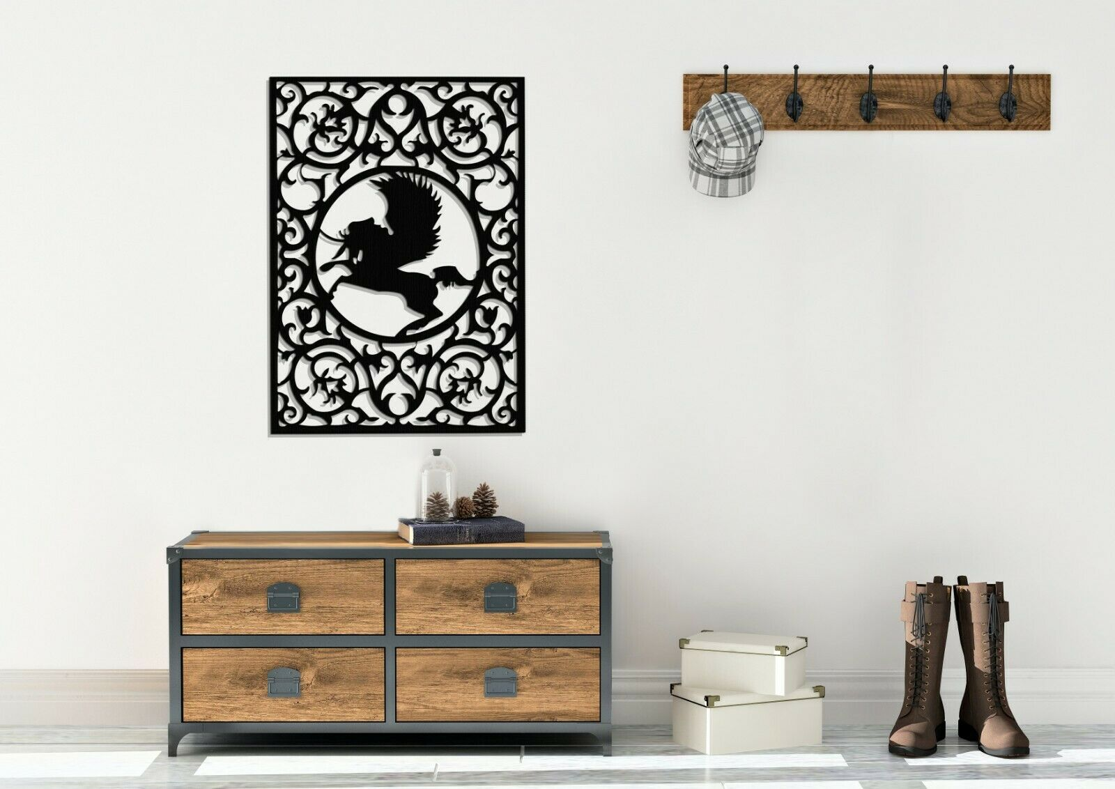 3D DEKORATIVE WANDPANEEL, PEGASUS, MYTHOLOGIE,52 x 73 cm, WANDDEKOR, HANDMADE | Online Shop