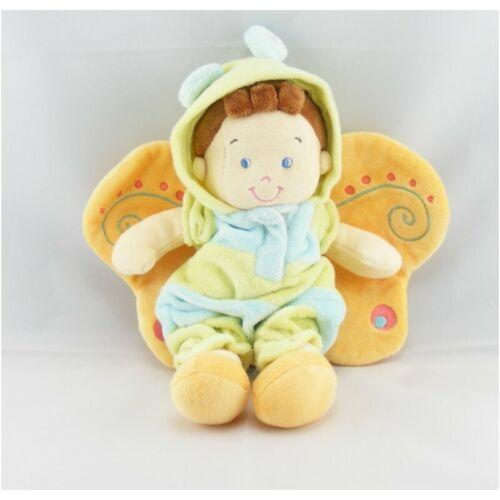 Kuscheltuch Puppe Wichtel Junge Verkleidet aus Schmetterling Grün Blau Nicotoy