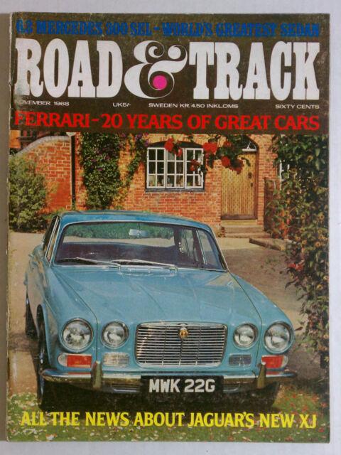 ROAD & TRACK MAGAZINE VINTAGE BACK ISSUE 1968 NOVEMBER JAGUAR XJ
