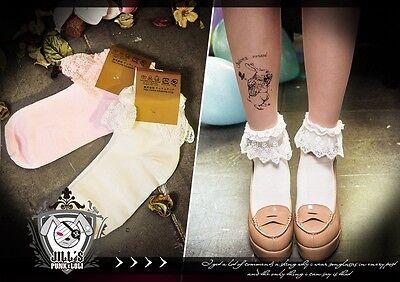 lolita vivi LENA fairy Kei ballerina lace trim ankle socks J1I7043