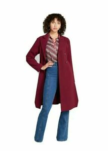 New-Mod-Cloth-Women-039-s-Burgundy-Along-for-the-Ride-Crepe-Coat-Size-1x