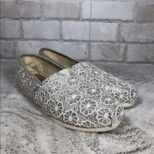 TOMS Metallic Silver Crochet Floral Metallic Silve