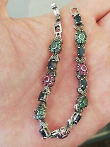 Ancien-bracelet-femme-en-argent-massif-et-pierres-multicolores-a-identifier
