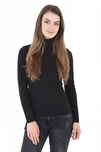 Womens-Ladies-45-Cotton-Roll-High-Neck-Polo-Turtle-Top-Jumper-Long-Sleeve-Tops