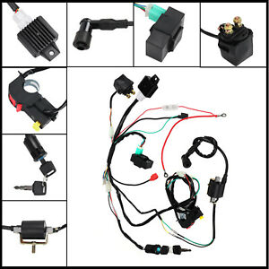 Professional CDI Motorcycle Wiring Harness Loom Solenoid Coil Rectifier 50-125cc