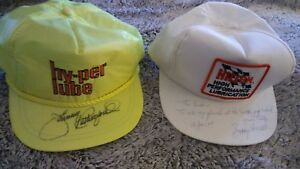 NASCAR-SIGNED-BOBBY-UNSER-and-JOHNNY-RUTHERFORD-2-SIGNED-RACING-HATS