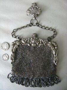 Antique-Silver-Metal-Floral-Steel-Bead-CHATELAINE-Clip-Ceinture-Kilt-Porte-monnaie
