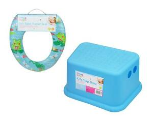 Children-Toddler-Potty-Training-Set-Soft-Padded-Toilet-Seat-Step-Stool-Frog-Blue
