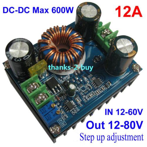 Corriente Directa-DC CC CV 600 W 12-60 V a 12V-80V Boost Step Up Ajustable Módulo de Fuente de alimentación
