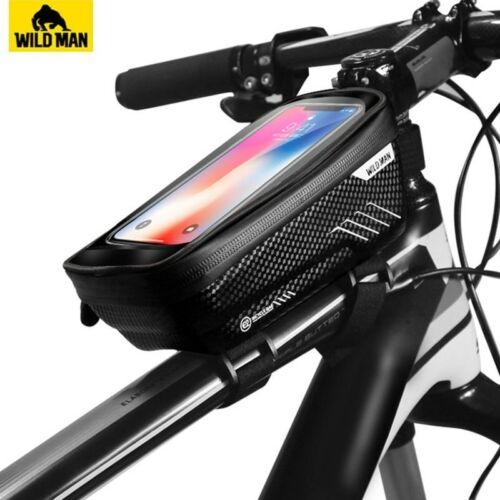 WILD MAN Mountain Bike Bag Rainproof Waterproof Mtb Front Bag 6.2inch Mobile