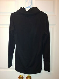 Women-Athleta-Black-Tranquility-Cowl-Neck-Sweatshirt-Pullover-Size-S