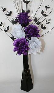 Artificial silk flowers purple white flower arrangement in black image is loading artificial silk flowers purple amp white flower arrangement mightylinksfo
